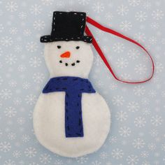 Handmade snowman Christmas tree decoration by GilyBeans on Etsy, £5.50