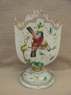 ANTIQUE VICTORIAN CONTINENTAL BOHEMIAN MOSER GLASS VASE WITH HAND PAINTED ENAMELLED BIRDS  c.1840-1900