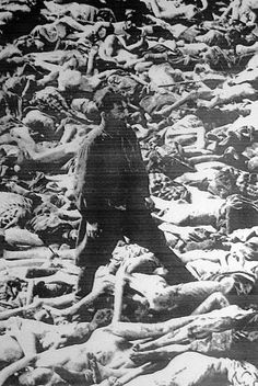 """In this famous photograph, Dr Fritz Klein is standing in a mass grave at Bergen-Belsen concentration camp; his main duty was the selection of prisoners to be sent into the gas chambers. From 1942-1944 transport trains delivered Jews, Romani, people with disabilities, Soviet war prisoners, homosexuals, Jehovah's Witnesses and other political and religious opponents to """"forced labor camps""""."""