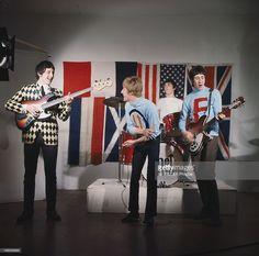 British Rock Band The Who. Les quatre membres du groupe de rock The WHO en action, avec Pete TOWNSHEND, Roger DALTREY, John ENTWISTLE et Keith MOON (à la batterie).