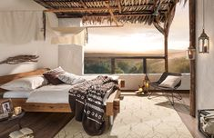 Afrikanisches Schlafzimmer mit Bett aus Holz Spirit Of Summer, Outdoor Furniture, Outdoor Decor, Home Goods, Home Decor, Ideas, African, Benefits Of, Bedroom Ideas