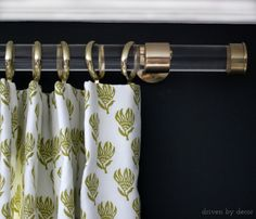 Acrylic drapery rod with gold hardware - post includes full source list to DIY your own!