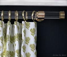Acrylic drapery rod with gold hardware