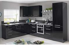 Hygena Valencia Kitchen Appliance Fascia - Black Gloss.