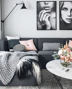 Our blush button cushion in the living room of oheightohnine Living Room Grey, Home Living Room, Apartment Living, Black White And Grey Living Room, Black White Pink, Cozy Living, Living Room Inspiration, Home Decor Inspiration, Decor Ideas
