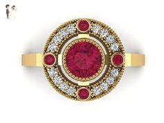 Ruby diamond ring, 14k Yellow Solid Gold Ring, Red Ruby Engagement ring, Vintage style Engagement ring, Art Deco remodeled for Modern women, Custom made ring. - Wedding and engagement rings (*Amazon Partner-Link)