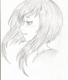 Manga girl hair side view, eyes side view