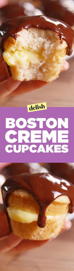 Looking for an easy Boston cream dessert? These Boston Cream Cupcakes are too cute to pass up. Cupcake Recipes, Cupcake Cakes, Dessert Recipes, Cup Cakes, Boston Cream Cupcakes Recipe, Creme Cupcake, Delicious Desserts, Yummy Food, Tasty