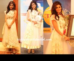 In a white Shehlaa By Shehla Khan suit, Chitrangada attended the Navbharat Times Awards paired with jewellery by Amrapali and tan peep-toe pumps. Chitrangada Singh at Navbharat Times Awards Bollywood Style, Bollywood Fashion, Indian Attire, Indian Outfits, Chitrangada Singh, Indian Textiles, Indian Clothes, Traditional Dresses, Indian Fashion