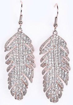 Silver Diamond Leaf Dangle Earrings $10.50