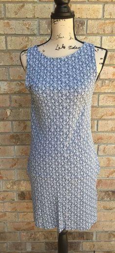 Soft Joie Shift Dress Size M Blue And White Sleeveless Two Pocket  | eBay