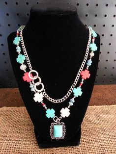Turquoise & Red Multi Cross Necklace on Etsy, $21.00