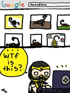 """""""Hey scorpion what are you-?screw you then"""" .Scorpion seems to be having fun with his dolly. Both Scorpion and Sub-Zero characters belong to the game Mortal Kombat Mortal Kombat Comics, Mortal Kombat Memes, Mortal Kombat Xl, Scorpion Mortal Kombat, Video Games Funny, Funny Games, Kung Jin, Akali Lol, Hood Wallpapers"""