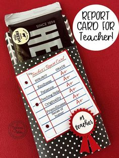 Teacher Appreciation Report Card, Candy Bar Wrappers— You're going to love our Candy Cards! Why not give the childrens teachers a Report Card this year with a Hershey chocolate bar attached? Teacher Birthday Card, Teachers Day Gifts, Staff Gifts, Presents For Teachers, Teacher Gifts, Student Gifts, Thank You Ideas For Teachers, Cards For Teachers Day, Daycare Gifts
