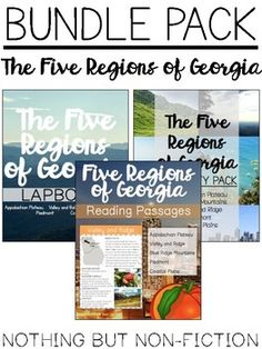 This Bundle pack includes 3 Five Regions of Georgia packs that our found in our store! Five Regions of Georgia Reading Passages Five Regions of Georgia Activity Pack Five Regions of Georgia Lapbooks