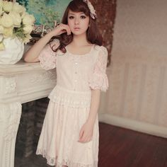 The little minions Dress full lace sweet dress butterfly knot collar the pink sleeve Slim dress 包邮-tmall.com days cat