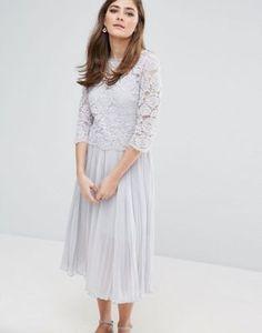 Oasis Lace Pleated Midi Dress