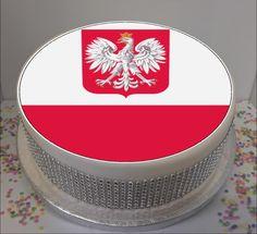 "Novelty Poland Flag 7.5"" Edible Icing Cake Topper Birthday Personalised Polish"