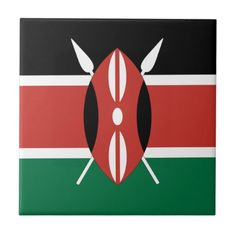 Kenya Flag Ceramic Tiles!  #flag #zazzle #store #gift #customize #country #home #products #shopping http://www.zazzle.com/flagsbydww25921*