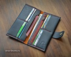 Black leather travel wallet, Leather unisex wallet, Porte-monnaie with zip, Gift for boyfriend, Leather wallet men. Leather Diy Crafts, Leather Craft, Minimalist Leather Wallet, Handmade Wallets, Leather Notebook, Long Wallet, Clutch Wallet, Boyfriend Gifts, Black Leather