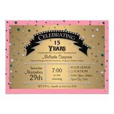 """Quinceanera, Mis Quince Anos, 15th Birthday Party Celebration with Faux Jewel Confetti Invitation set.  Fun, glitzy and perfect for your daughter's """"Premier"""" with a movie ticket style theme.  $2.50 for 1, 40% discount when ordering 100+  #movieticket #premier #hollywoodpremier #birthdayparty #birthday #quinceanera #misquinceanos #15thbirthday"""