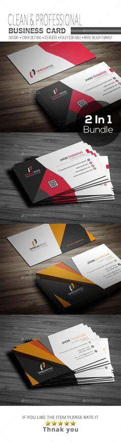 Business Card Bundle ( 2 In 1 ) - #Corporate #Business #Cards Download here: https://graphicriver.net/item/business-card-bundle-2-in-1-/19417020?ref=alena994
