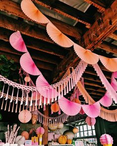 Pinterest: kgtopel pink, orange, party, decorations, wood, ceiling