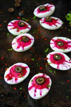 Deviled Egg Eyeballs are exactly the appetizer you want to gross out your guests. Just wait until they see these!