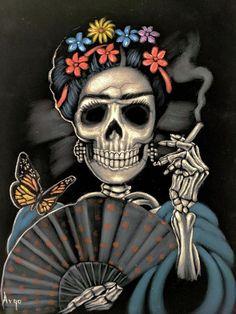 Skull Painting - Frida Kahlo Calavera by Argo Frida Kahlo Artwork, Frida Kahlo Exhibit, Frida Kahlo Tattoos, Fridah Kahlo, Flor Tattoo, Frida And Diego, Day Of The Dead Art, Skull Painting, Sugar Skull Art