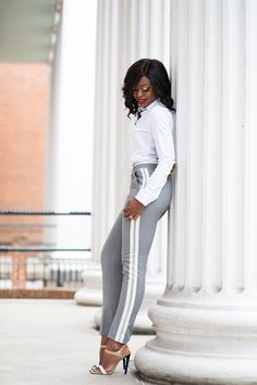 Work Style: Gray and White  Pants (sold out here, similar here, here, more here or here) // KoshieO shirt (c/o here) // River Island heels  Jadore Fashion