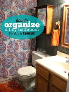 30 Days to an Organized Life -- How to Organize a Tiny Bathroom (that lots of people are using!) -- from ThePeacefulMom.com