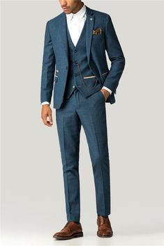 This Marc Darcy herringbone men's suit is a stylish three piece suit for formal occasions in a royal blue checked men's suit jacket, trousers and waistcoat. Blue Tweed Suit, Blue Suit Men, Purple Suits, Suit Up, Black Suits, Black Men, Three Piece Suit, 3 Piece Suits, Mens Fashion Suits