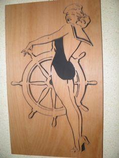 #Wandbild #Steuerfrau aus #Holz #Deko