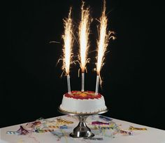 Glamotrous And Stunning Birthday Cake Sparklers Round White Delicious Cream With Firework Luxury Adorable Big