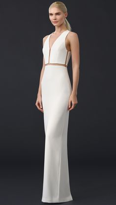 Alexander Wang, White V Neck Gown With Fishing Line Detail