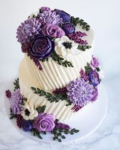 """Cake artist Leslie Vigil uniquely decorates cakes so that they appear to be embroidered. These """"stitches"""" make beautiful flowers, patterns, and more. Cake Cake Artist Leslie Vigil Creates Gorgeous Cakes That Look Like They're Embroidered Beautiful Birthday Cakes, Gorgeous Cakes, Pretty Cakes, Cute Cakes, Amazing Cakes, Purple Birthday Cakes, Birthday Cake Designs, Unique Birthday Cakes, It's Amazing"""