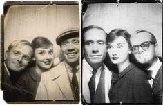 Attori famosi del passato in fototessere - Truman Capote, Audrey Hepburn e Mel Ferrer
