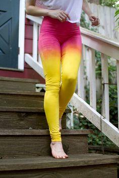 4d6f1d990f Yellow Leggings, Pink Leggings, Yoga Leggings, Strawberry Lemonade, Summer  Leggings, Ombeautiful, Yogi Gift, Womens Leggings