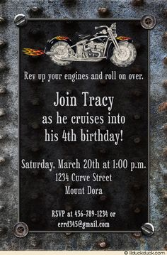 Little & big boys alike love motorcycles, they'll love a biker-themed birthday party! A flame-adorned motorbike roars across flame biker birthday invitation