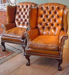 rich tan colour antique wingback chair just beautiful - Leather Wingback Chair