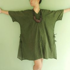 Oversized Wide Kimono Sleeve Top, Loose Cotton Tunic Top in Dark Green