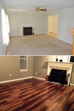 "Top Makeovers: ""We bought a house that needed to be brought into this century, and the new laminate really helped do the trick! We put in new blinds, painted, and laid the Natural Acacia laminate flooring. It is amazing how much different the room looks!"" [Natural Acacia Laminate] http://remodel.lumberliquidators.com/detail/12mm-natural-acacia-laminate-flooring-bowling-green-ky"