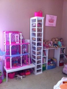 Barbie Doll Storage Cabinet (using Dollar Store Shoe Boxes)