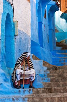 Chefchaouen, Morocco.  See More of the Worlds Most Colorful Cities A four-hour drive from the bustling city of Fez brings you to this village high in the Rif Mountains, known for its labyrinthine medina bathed entirely in shades of blue. The area was once a refuge for Spanish Jews fleeing the Inquisition in the 1500s, who found a harmonious safe haven in Chefchaouen; though most have now migrated to Israel, the warren of turquoise alleys remains as their legacy.