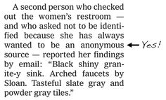NEW YORK TIMES MAKES A WOMAN'S DAY (OR YEAR?) BY USING HER AS AN ANONYMOUS SOURCE