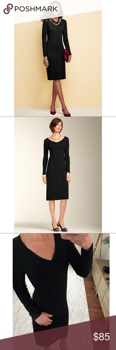 """Talbots 100% Merino Wool Sheath Dress Black NWOT S Talbots 100% Merino Wool Sheath Dress Black NWOT size Small. Runs large. Your classic winter """"LBD"""". Long sleeve, modest V neck, midi length. Flattering piping detail across waist and down front. Beautiful weight.  Dress up with heels, dress down with boots, booties or sneakers!  18"""" armpit to armpit 42"""" L 16"""" waist Talbots Dresses Midi"""
