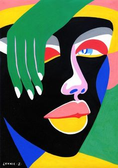 "Lynnie Z Art Print ""Lady Bytheway"" x 24 in) Art And Illustration, Illustrations Posters, Kunst Inspo, Art Inspo, African Art Paintings, Abstract Faces, Diy Canvas Art, Face Art, Art And Craft"