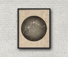Aquarius Constellation, Wall Art Prints, Art Print Poster, Aquarius Art, Aquarius Zodiac, Zodiac Print, Zodiac Sign