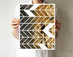 Geometric print 11x14 - Chevron - Art print  - Wall decor - Natural - Wild - Brown Light blue via Etsy
