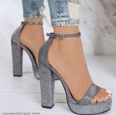 - Nordstrom Heels – silver glitter chunky platform heels / ankle strap / women's sho - Fancy Shoes, Pretty Shoes, Women's Shoes, Dress Shoes, Ankle Shoes, Buy Shoes, Lace Up Heels, Ankle Strap Heels, Ankle Straps